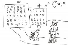 Kot Filemon prowadzi senną dziewczynkę do domu