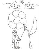 Kwiatek przywiązany do sznurka dziewczynki