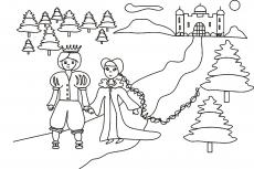 Książe i królewna opuszczają zamek