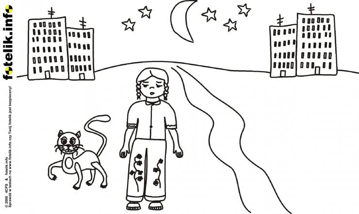 Kot Filemon i senna dziewczynka