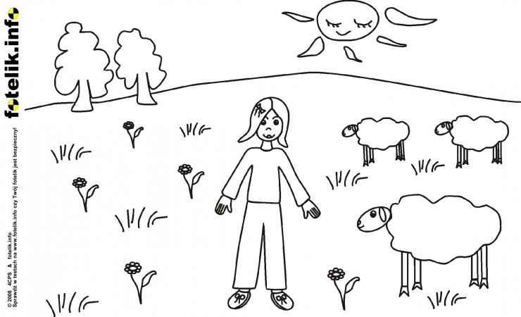 Mała Ula  przygląda się owieczkom