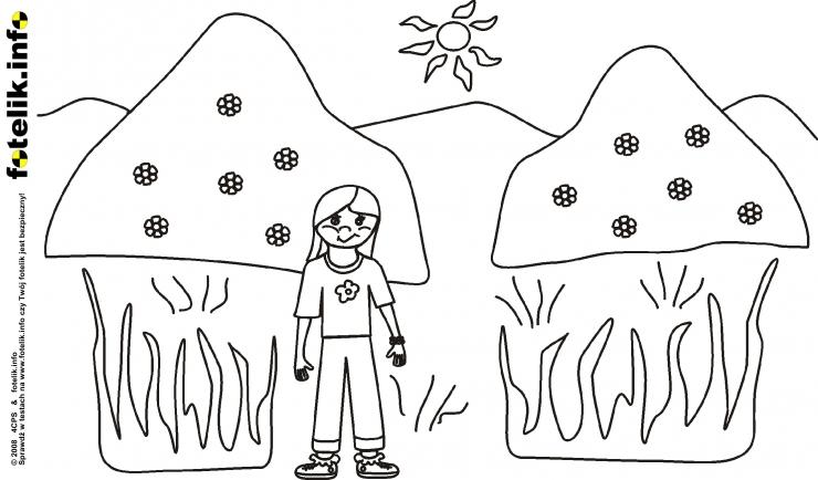 Dziewczynka w drodze na wzgórze z kwiatkami