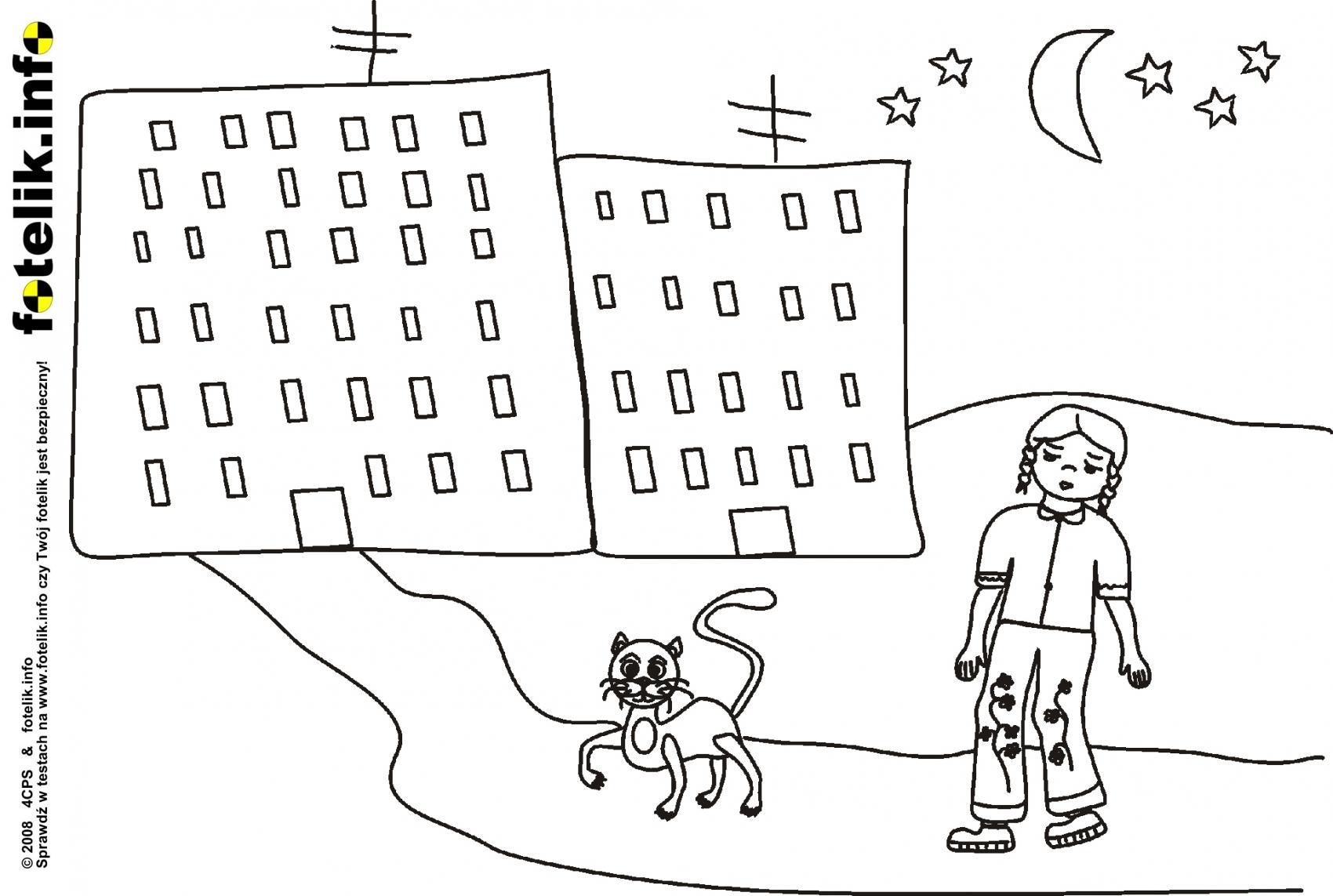 Kolorowanki Kot Filemon Prowadzi Senną Dziewczynkę Do Domu